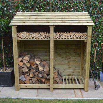 Hambleton 6ft log store + Kindling Shelf Light Green