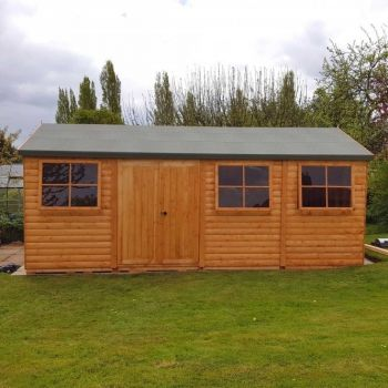 Shiplap Mammoth Loglap 12' x 24' Shed Double Door with Two Opening Window