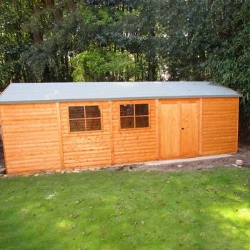 Shiplap Mammoth Loglap 12' x 30' Shed Double Door with Two Opening Window