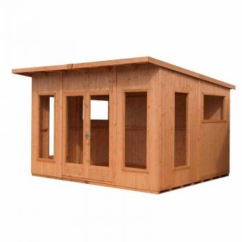 Miami 12' x 10' Double Door with Four Fixed and Two Opening Windows Summerhouse