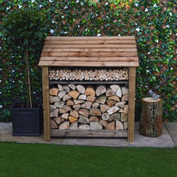 Greetham 4ft log store + Kindling Shelf - Rustic Brown