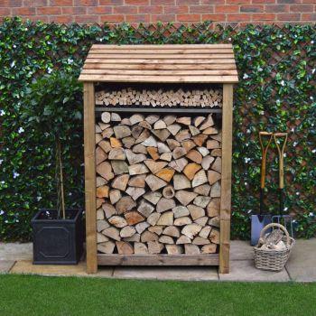 Greetham 6ft log store + Kindling Shelf - Rustic Brown