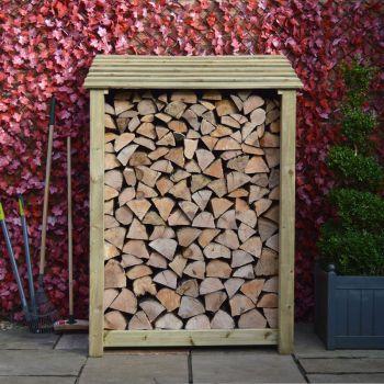 Greetham 6ft log store + Kindling Shelf Light Green