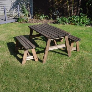 Oakham Picnic Table And Bench Set 5ft - Rustic Brown