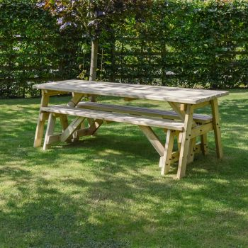 Oakham Picnic Table And Bench Set 7ft Light Green