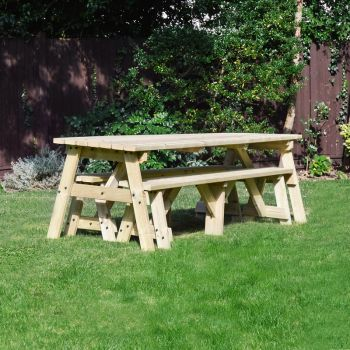 Oakham Picnic Table And Bench Set 8ft Light Green