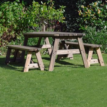 Oakham Rounded Bench set 7ft - Rustic Brown