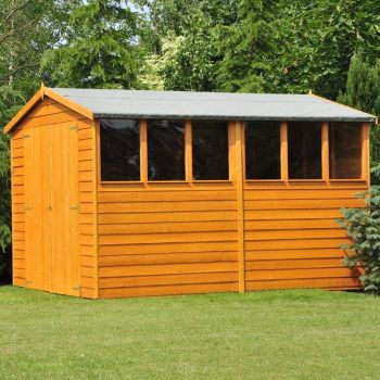 Overlap DD Garden Shed - Dip Treated Approx 10 x 6 Feet