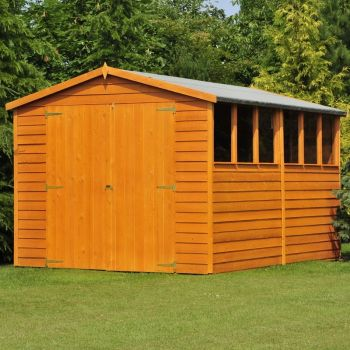 Overlap 12' x 8' Dip Treated Apex Shed Double Door with Windows