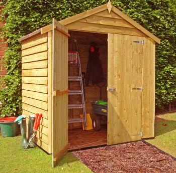 Overlap Double Door Garden Shed - Dip Treated Approx 4 x 6 Feet