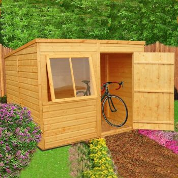 Pent Single Door Tongue and Groove Garden Shed Workshop Approx 8 x 6 Feet