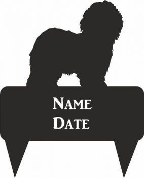 Old English Sheep Dog Rectangular Memorial Plaque - Regular