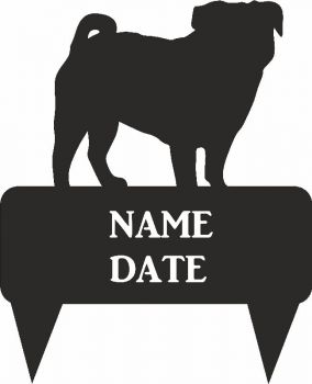 Pug Rectangular Memorial Plaque  - Regular