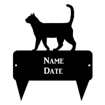 Walking Cat Rectangular Memorial Plaque - Regular