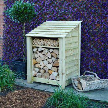 Burley 4ft log store + Kindling Shelf Light Green