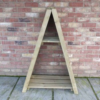 "Small Triangular  2' 8"" x 1' 4\"" Tongue & Groove Pressure Treated Log Store"