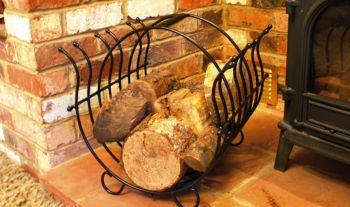 Log Basket - fireside iron log holder