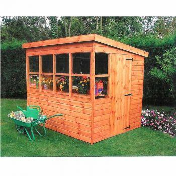 Sun Pent 6' x 6' Single Door with Six Windows Dip Treated Wooden Garden Potting Shed