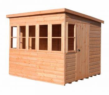 Sun Pent 8' x 6' Single Door with Seven Windows Dip Treated Wooden Garden Potting Shed