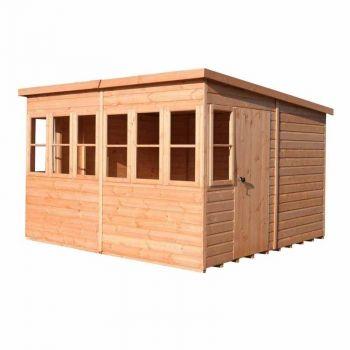 Sun Pent 10' x 10' Single Door with Eight Windows Dip Treated Wooden Garden Potting Shed