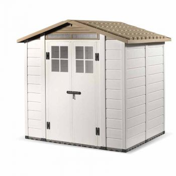 """Tuscany Evo 6'6\"""" x 5'4\"""" 200 Apex Plastic Shed Double Door with Two Perspex Windows"""