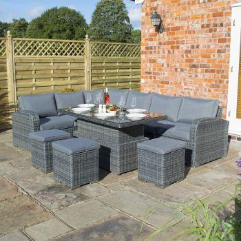 Thornbury Corner Dining Set Grey Weave Height Adjustable Table