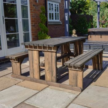 Tinwell Picnic Bench 8ft - Rustic Brown