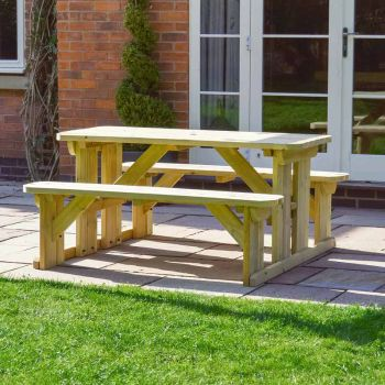 Tinwell Rounded Picnic Bench 5ft Light Green