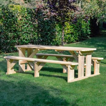 Tinwell Rounded Picnic Bench 8ft Light Green