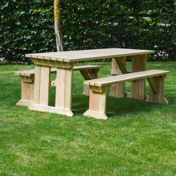 Tinwell Picnic Table And Bench Set 7ft Light Green
