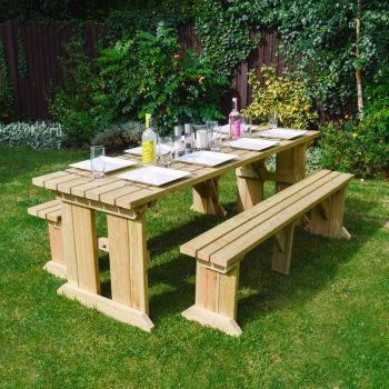 Tinwell Picnic Table And Bench Set 8ft Light Green