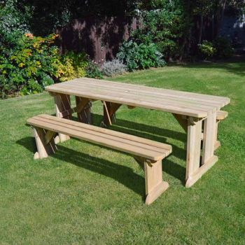 Tinwell Rounded Picnic Table And Bench Set 7ft Light Green