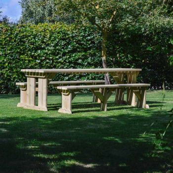 Tinwell Rounded Picnic Table And Bench Set 8ft Light Green