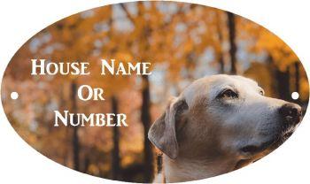 Dog Head Full Colour Printed Metal House UV Plaque - Regular