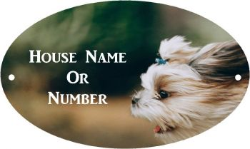 Dog Head Full Colour UV Printed Metal House Plaque - Large
