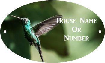 Hummingbird Full Colour UV Printed Metal House Plaque - Regular