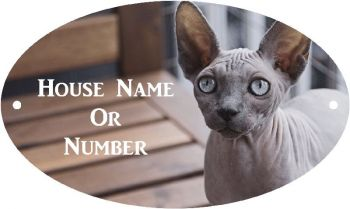 Sphynx Cat Full Colour UV Printed Metal House Plaque - Large