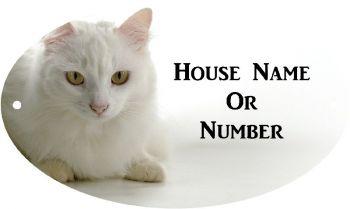 White Cat Full Colour UV Printed Metal House Plaque - Regular