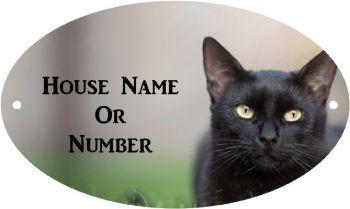 Black Cat Full Colour UV Printed Metal House Plaque - Large