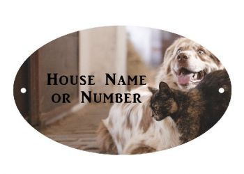 Cat and Dog Full Colour UV Printed Metal House Plaque - Large