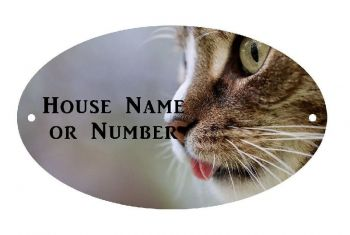 Cat Tongue Full Colour UV Printed Metal House Plaque - Regular