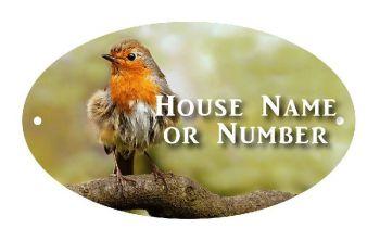 British Birds Robin Full Colour UV Printed Metal House Plaque - Large