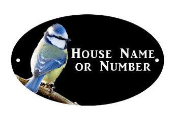 British Birds Blue Tit Full Colour Printed Metal House Plaque UV - Large