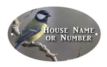 British Birds Blue Tit Full Colour Printed UV Metal House Plaque - Large