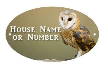 British Birds Barn Owl Full Colour UV Printed Metal House Plaque - Large