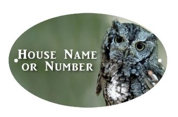 British Birds Owl Full Colour UV Printed Metal House Plaque - Large