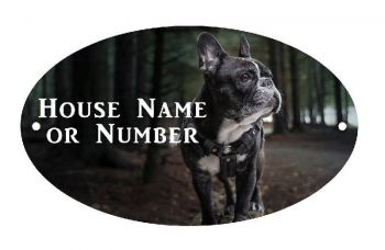 French Bulldog Full Colour UV Printed Metal House Plaque - Large