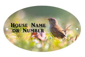 Small Wren Bird UV Printed Metal House Plaque - Large