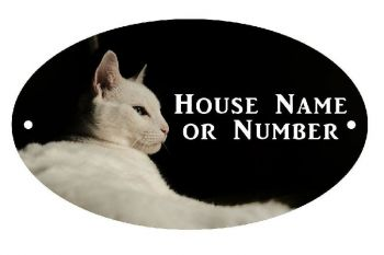 White Cat UV Printed Metal House Plaque - Regular
