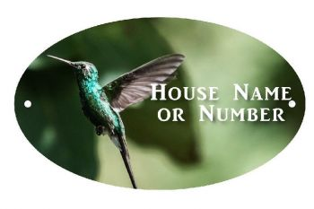 Humming Bird Printed UV Metal House Plaque - Large